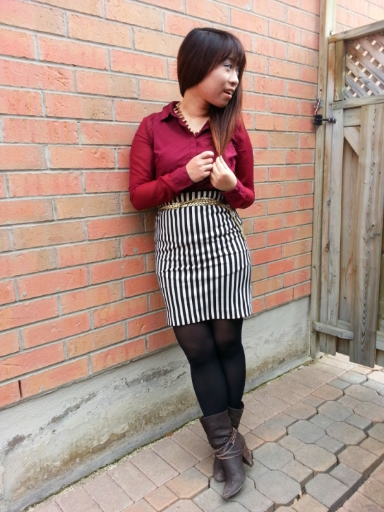 20130406151356654 - Outfit #2 oxblood blouse and printed pencil skirt
