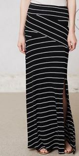 B&W Striped Maxi Skirt
